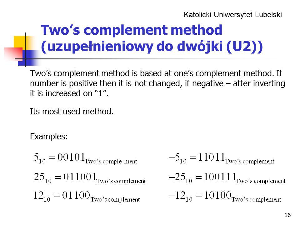 Two's complement method (uzupełnieniowy do dwójki (U2))