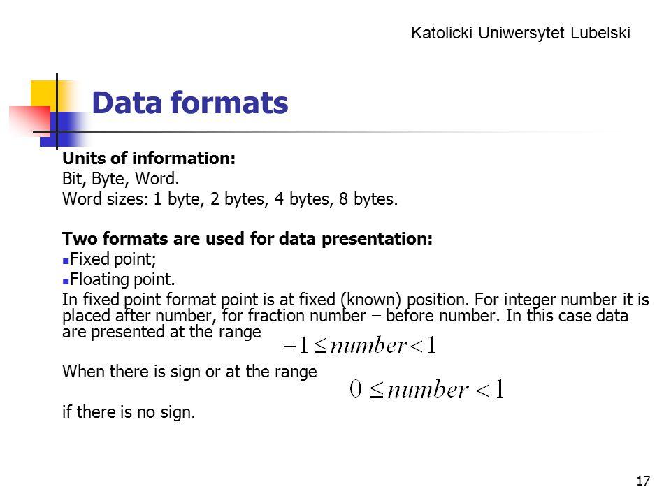 Data formats Units of information: Bit, Byte, Word.