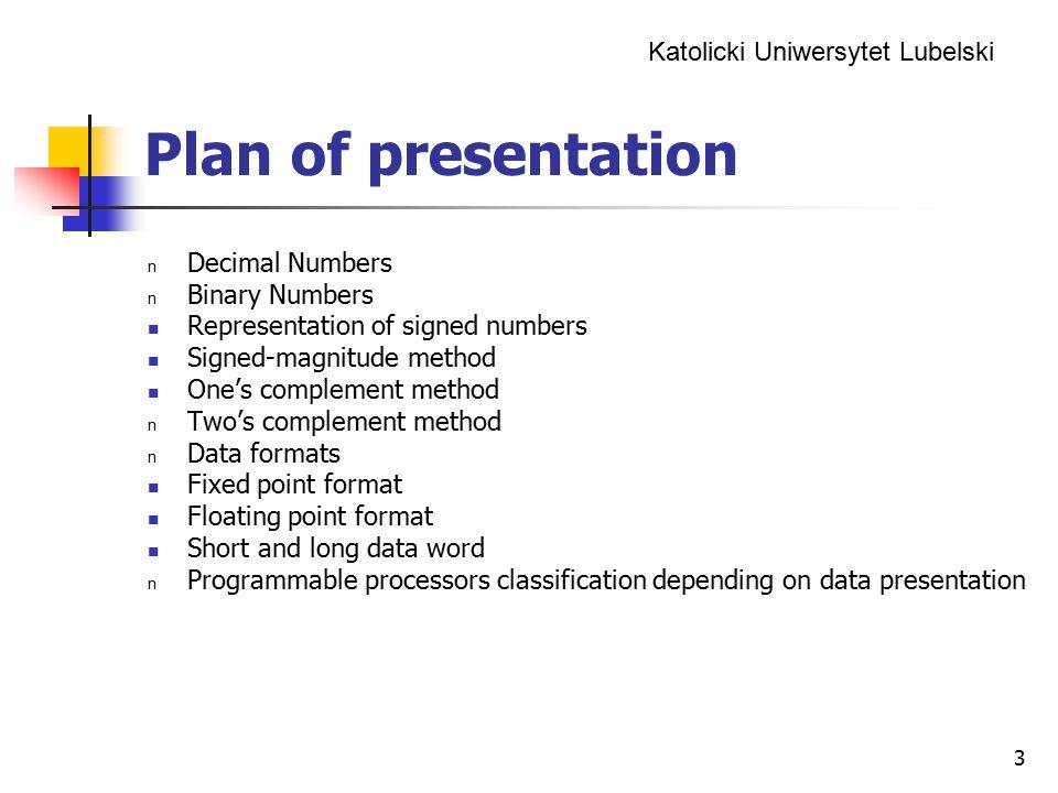 Plan of presentation Decimal Numbers Binary Numbers