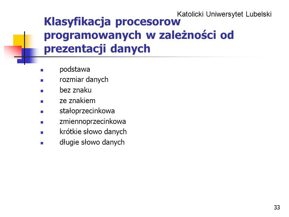 Klasyfikacja procesorow programowanych w zależności od prezentacji danych
