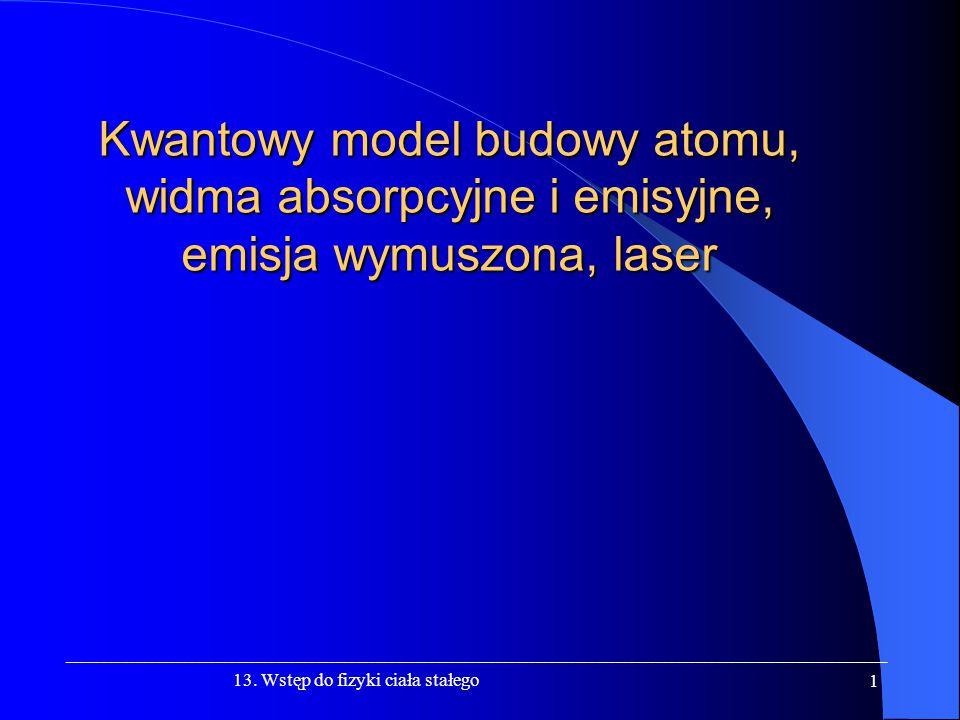 Kwantowy model budowy atomu, widma absorpcyjne i emisyjne, emisja wymuszona, laser