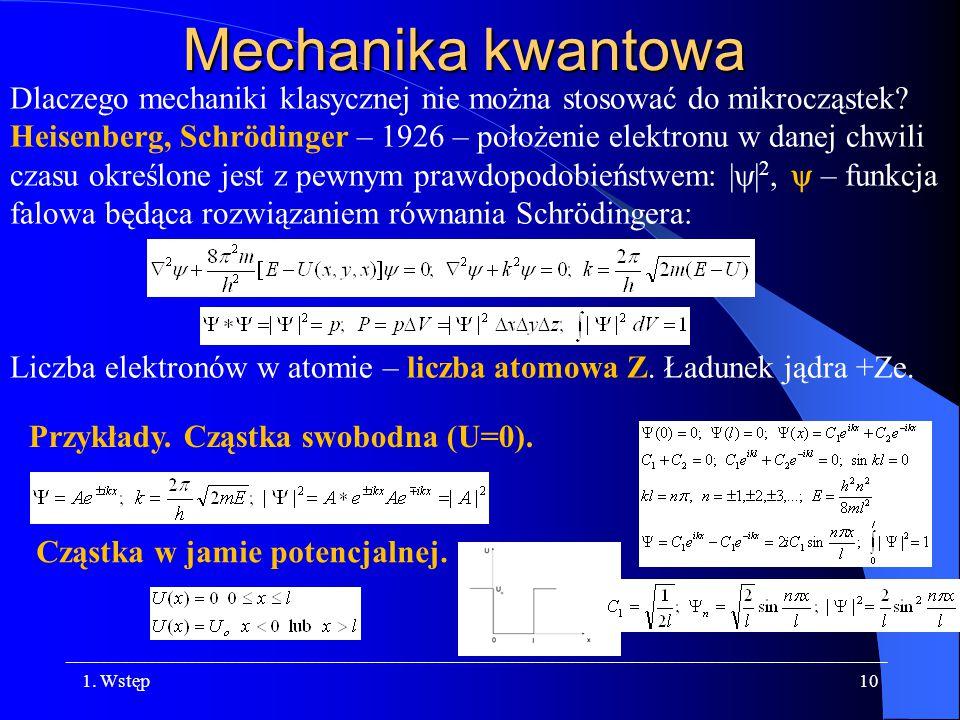 Mechanika kwantowa Dlaczego mechaniki klasycznej nie można stosować do mikrocząstek