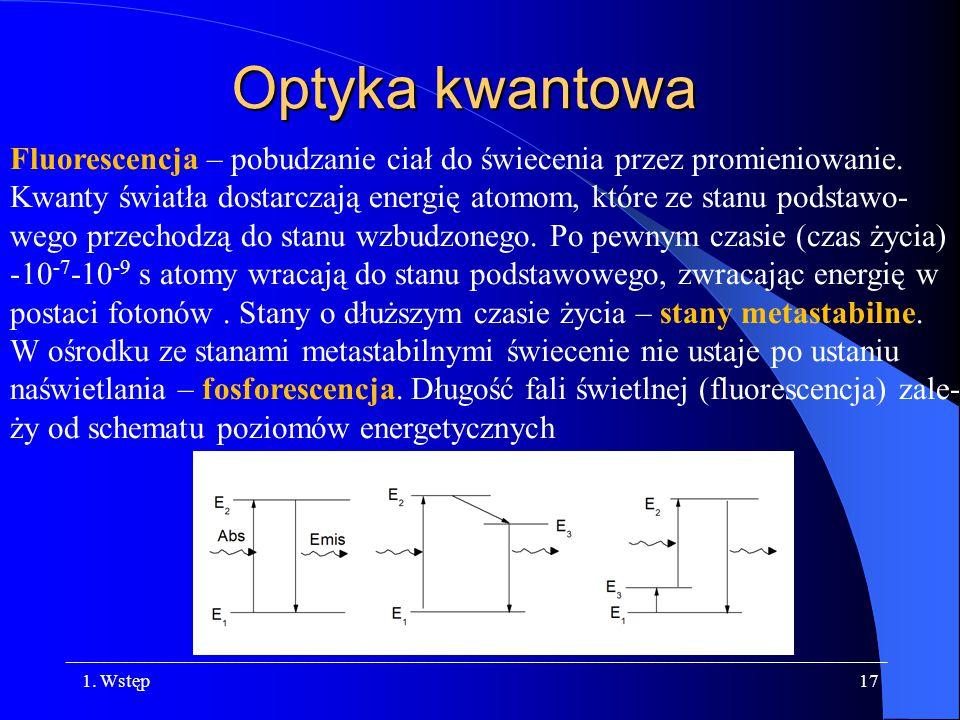 Optyka kwantowa Fluorescencja – pobudzanie ciał do świecenia przez promieniowanie.