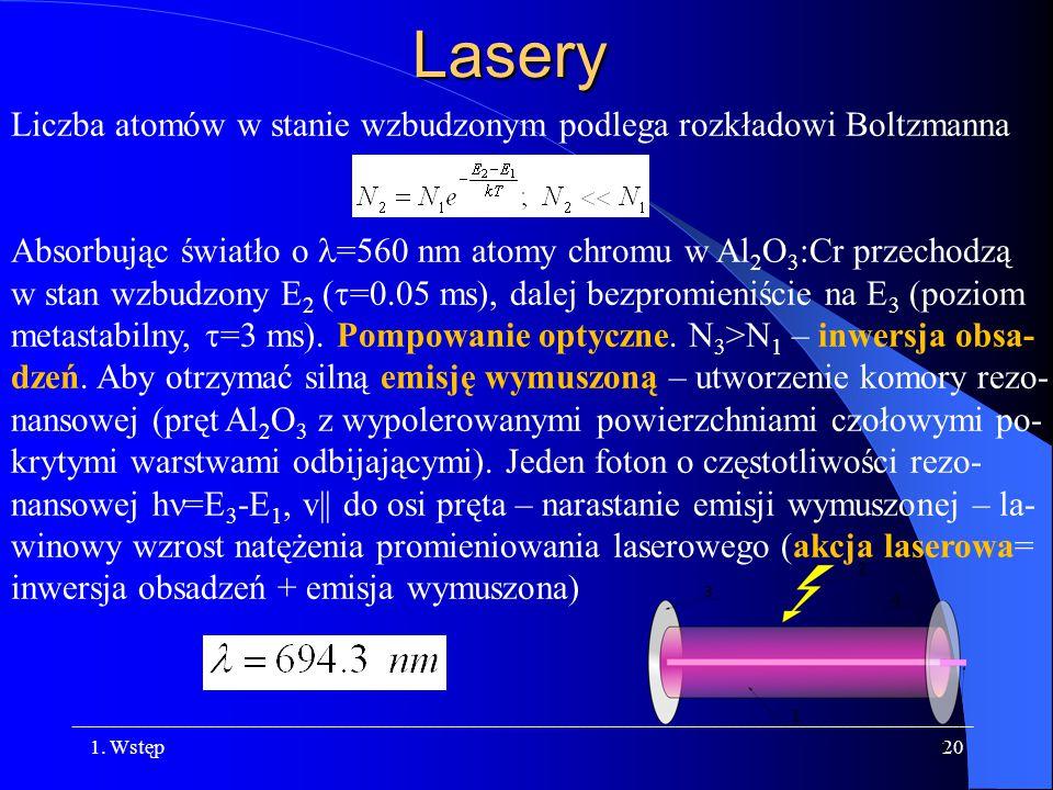 Lasery Liczba atomów w stanie wzbudzonym podlega rozkładowi Boltzmanna