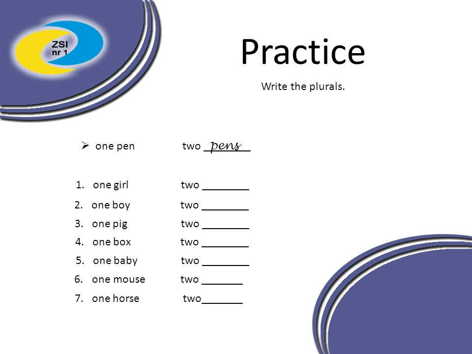 Practice Write the plurals. one pen two ________ pens 1. one girl