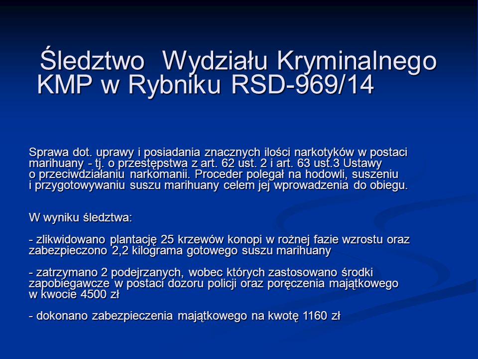Śledztwo Wydziału Kryminalnego. KMP w Rybniku RSD-969/14 Sprawa dot