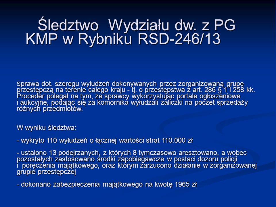 Śledztwo Wydziału dw. z PG. KMP w Rybniku RSD-246/13 Sprawa dot