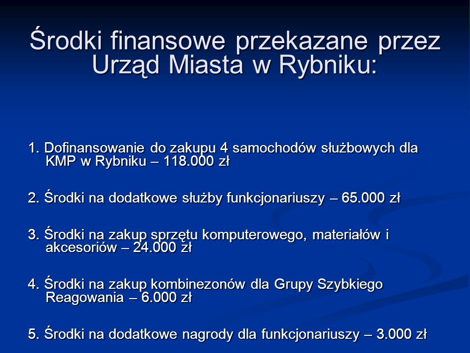 Środki finansowe przekazane przez Urząd Miasta w Rybniku: