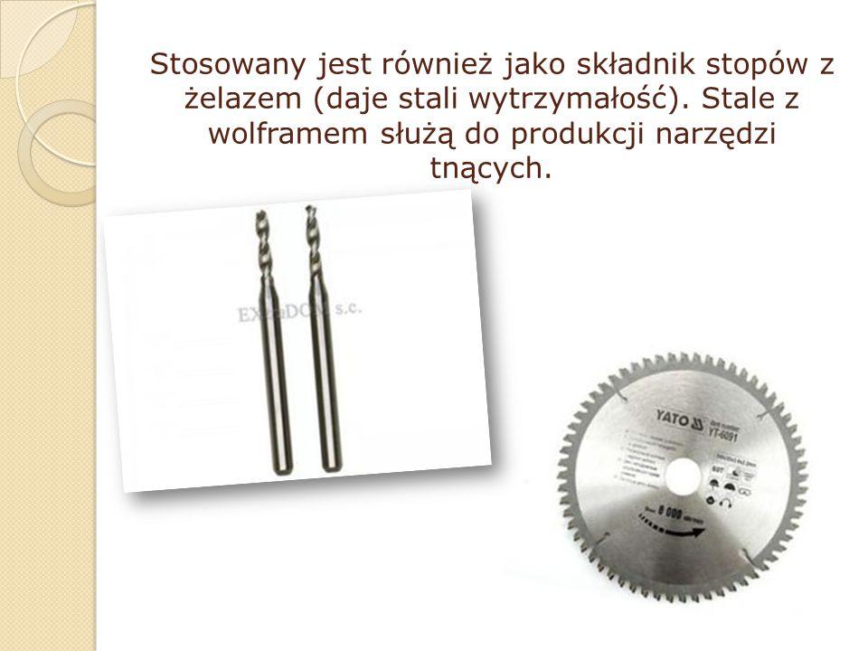 Stosowany jest również jako składnik stopów z żelazem (daje stali wytrzymałość).