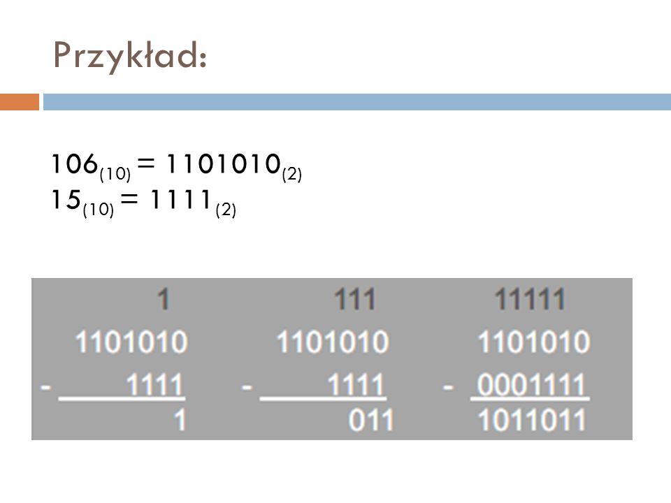 Przykład: 106(10) = 1101010(2) 15(10) = 1111(2)