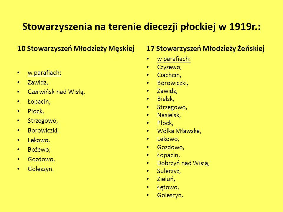 Stowarzyszenia na terenie diecezji płockiej w 1919r.: