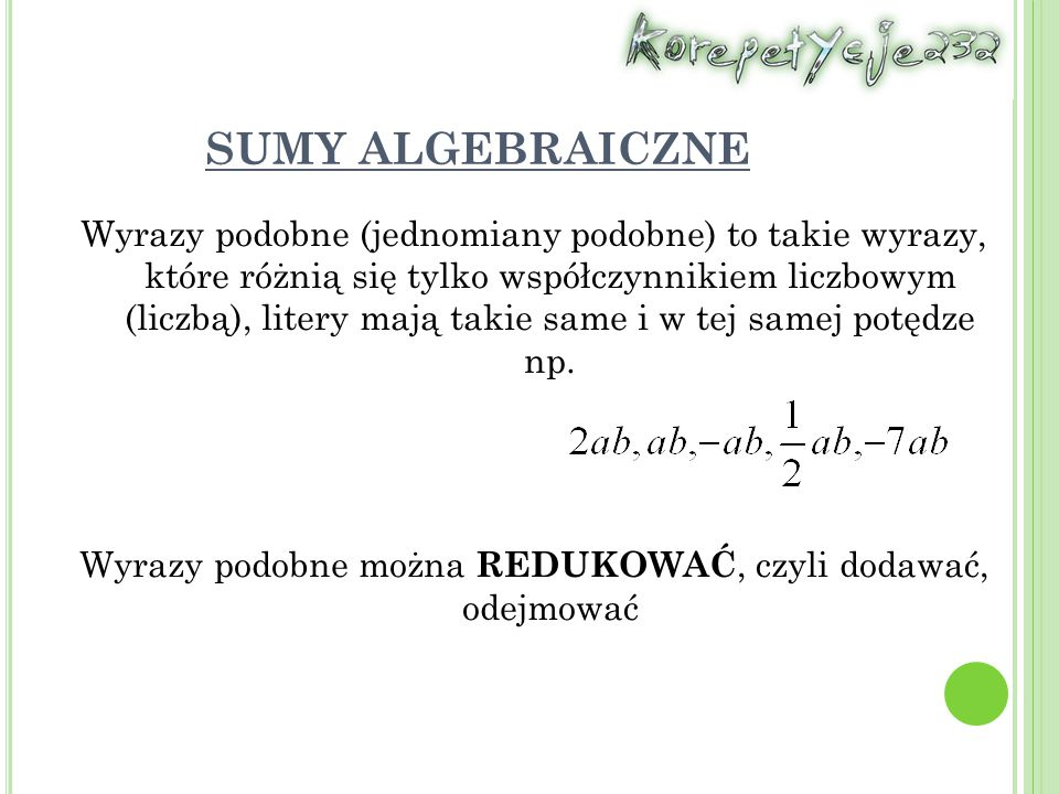 SUMY ALGEBRAICZNE
