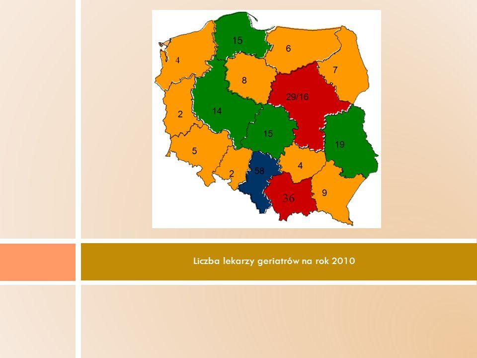 Liczba lekarzy geriatrów na rok 2010