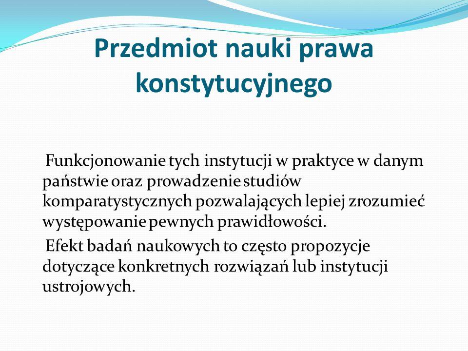 Przedmiot nauki prawa konstytucyjnego