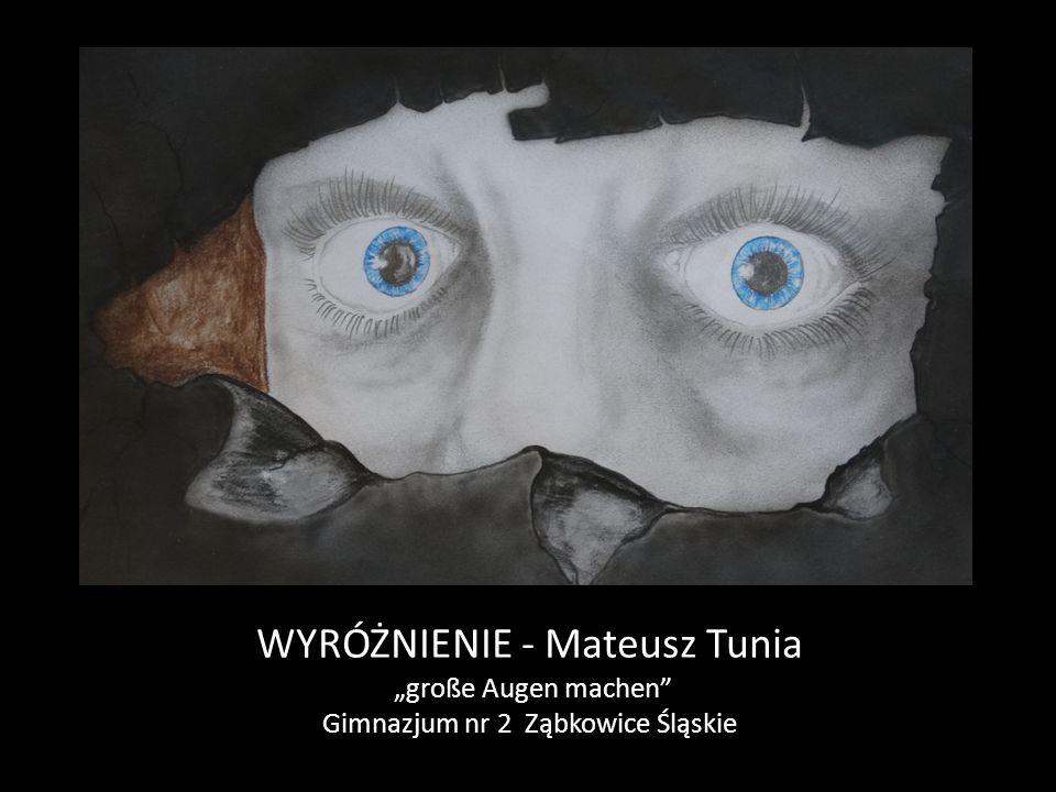 """WYRÓŻNIENIE - Mateusz Tunia """"große Augen machen Gimnazjum nr 2 Ząbkowice Śląskie"""