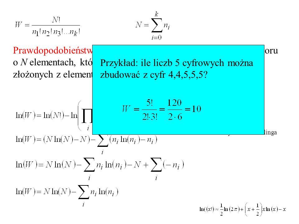 Przykład: ile liczb 5 cyfrowych można zbudować z cyfr 4,4,5,5,5