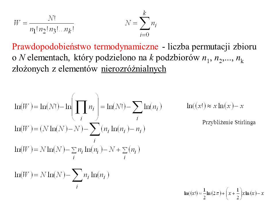 Prawdopodobieństwo termodynamiczne - liczba permutacji zbioru o N elementach, który podzielono na k podzbiorów n1, n2,..., nk złożonych z elementów nierozróżnialnych