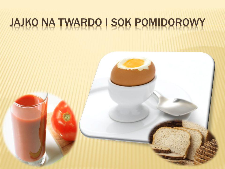 Jajko na twardo i sok pomidorowy
