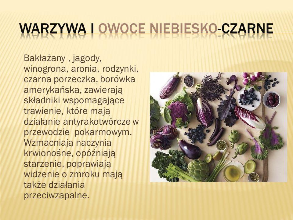 Warzywa i owoce niebiesko-czarne