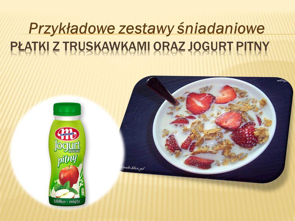 Płatki z truskawkami oraz jogurt pitny