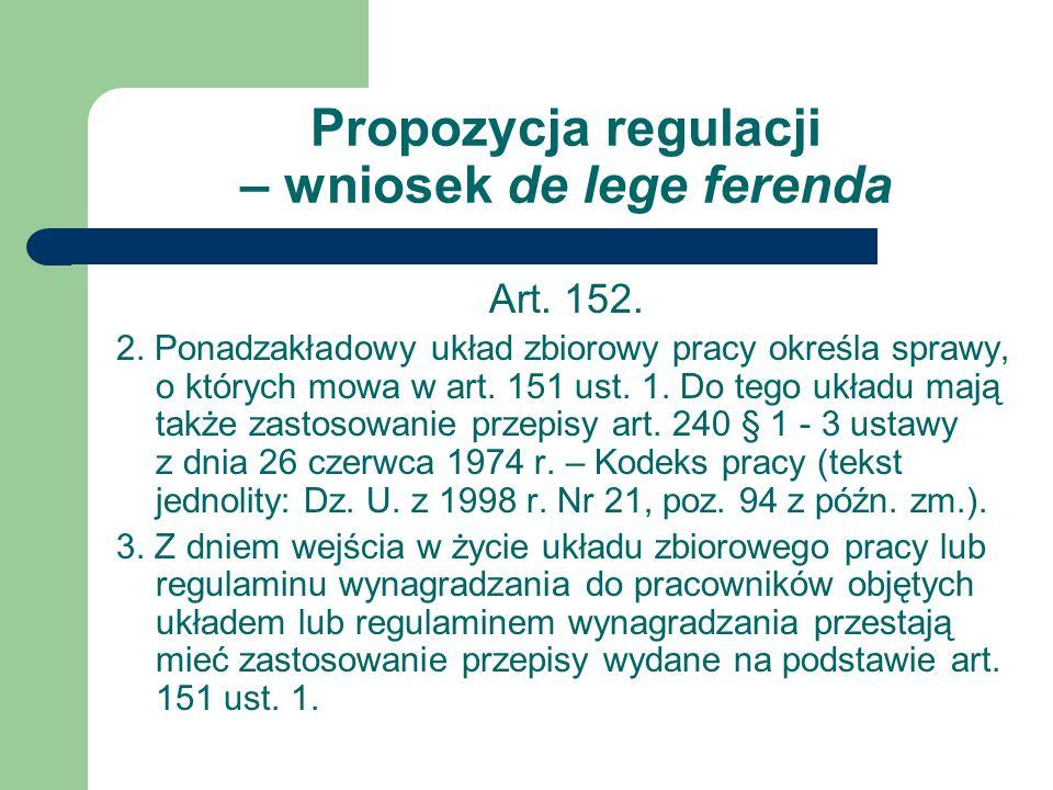 Propozycja regulacji – wniosek de lege ferenda
