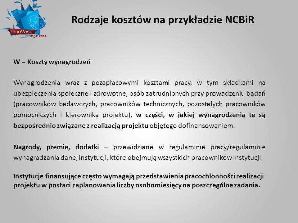 Rodzaje kosztów na przykładzie NCBiR