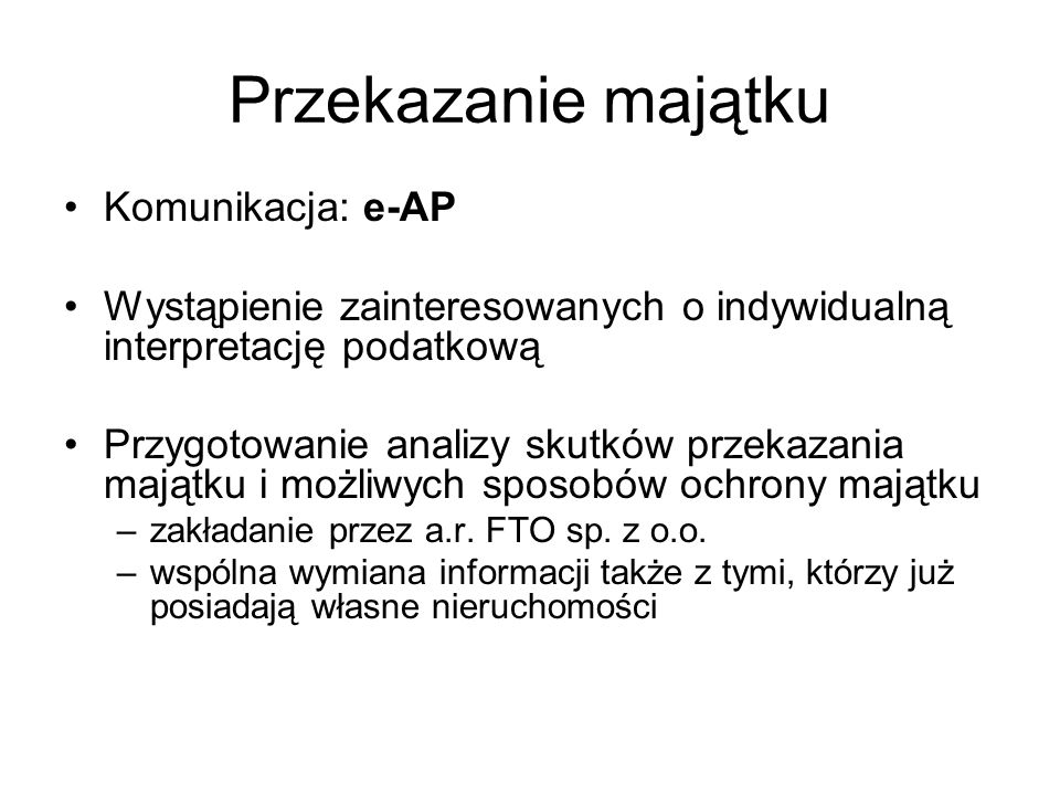 Przekazanie majątku Komunikacja: e-AP