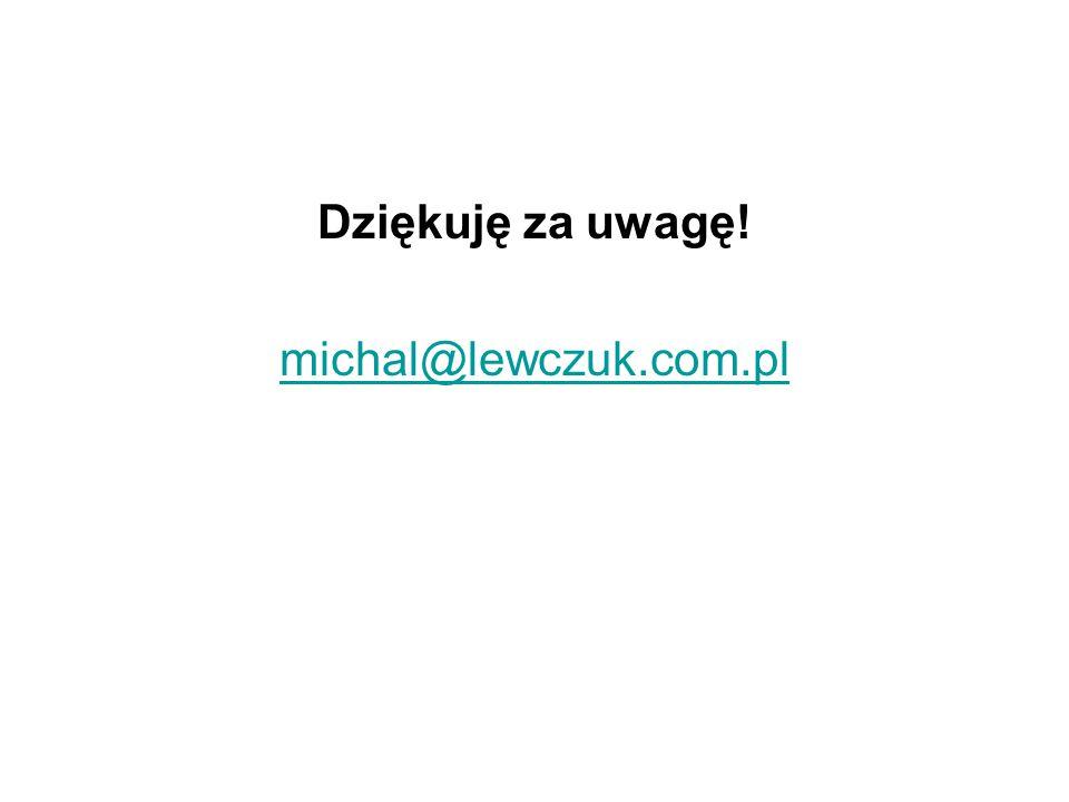 Dziękuję za uwagę! michal@lewczuk.com.pl