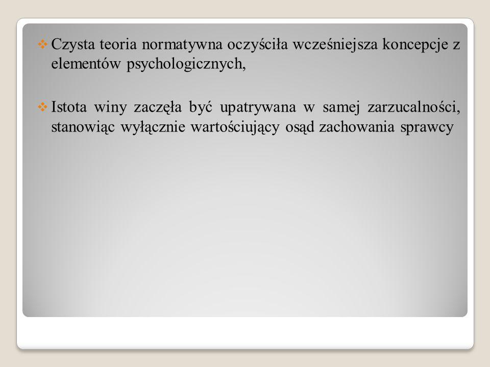 Czysta teoria normatywna oczyściła wcześniejsza koncepcje z elementów psychologicznych,