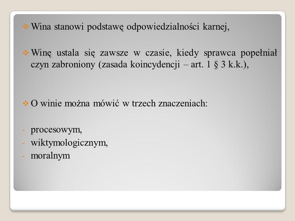 Wina stanowi podstawę odpowiedzialności karnej,