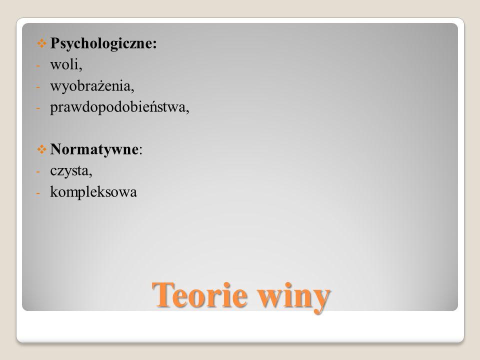 Teorie winy Psychologiczne: woli, wyobrażenia, prawdopodobieństwa,
