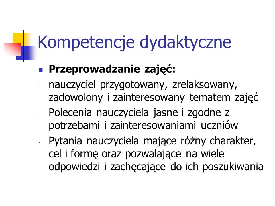 Kompetencje dydaktyczne