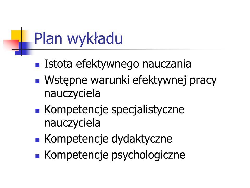 Plan wykładu Istota efektywnego nauczania