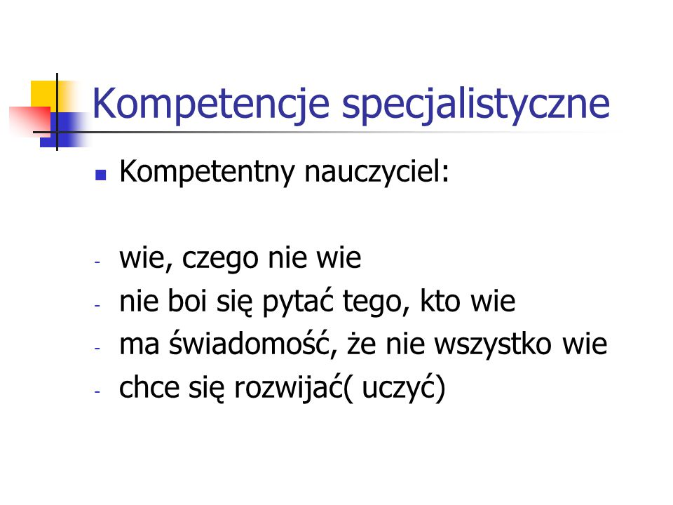 Kompetencje specjalistyczne
