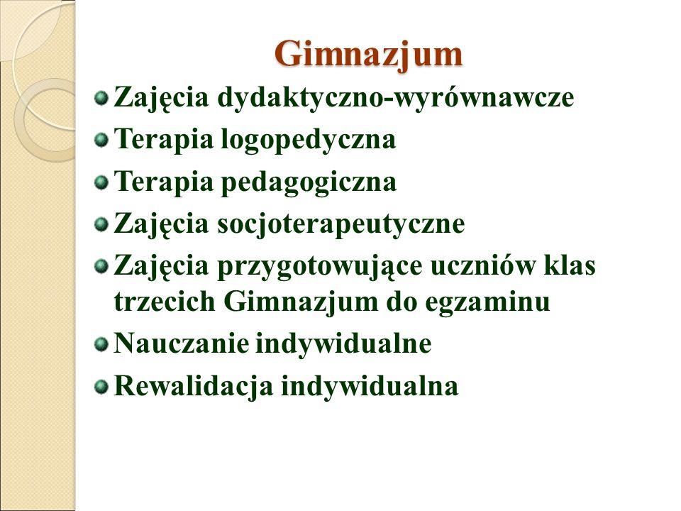 Gimnazjum Zajęcia dydaktyczno-wyrównawcze Terapia logopedyczna