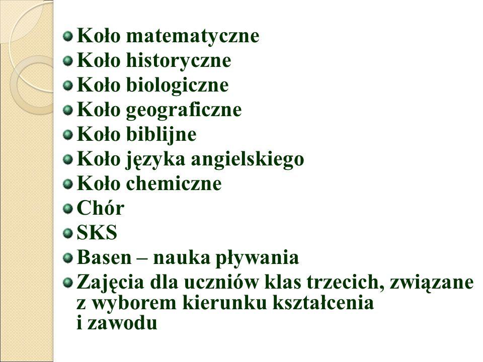 Koło matematyczne Koło historyczne. Koło biologiczne. Koło geograficzne. Koło biblijne. Koło języka angielskiego.
