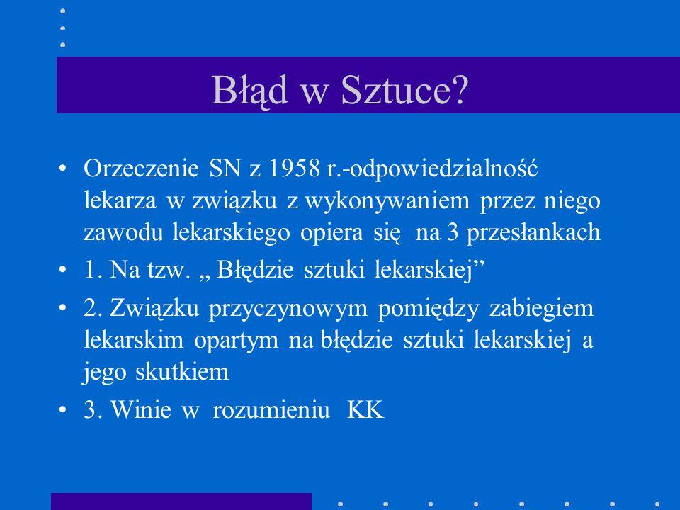 Błąd w Sztuce Orzeczenie SN z 1958 r.-odpowiedzialność lekarza w związku z wykonywaniem przez niego zawodu lekarskiego opiera się na 3 przesłankach.