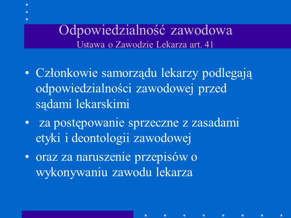 Odpowiedzialność zawodowa Ustawa o Zawodzie Lekarza art. 41