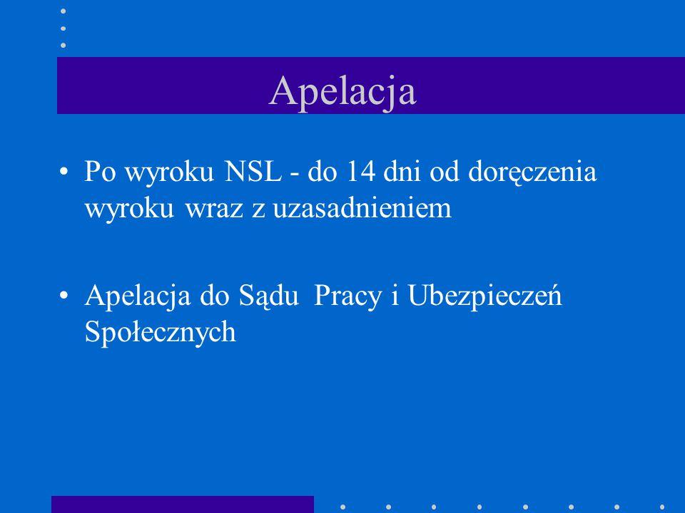 Apelacja Po wyroku NSL - do 14 dni od doręczenia wyroku wraz z uzasadnieniem.