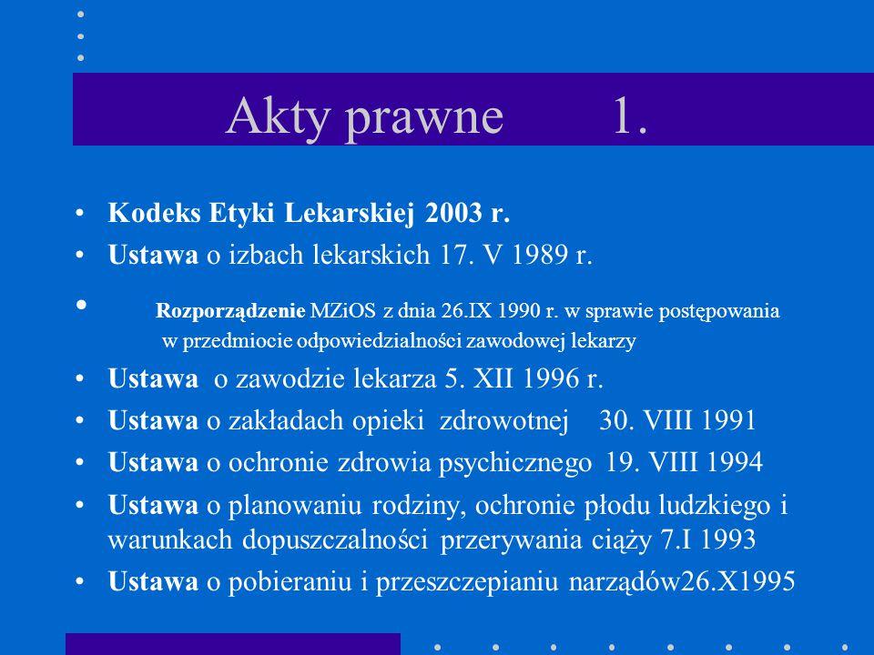 Akty prawne 1. Kodeks Etyki Lekarskiej 2003 r. Ustawa o izbach lekarskich 17. V 1989 r.