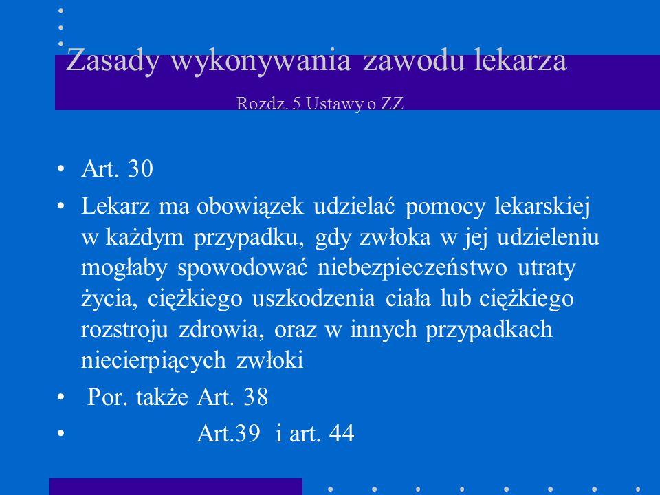 Zasady wykonywania zawodu lekarza Rozdz. 5 Ustawy o ZZ