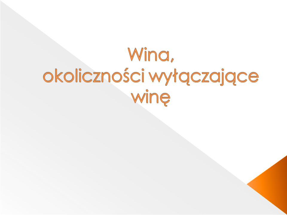 Wina, okoliczności wyłączające winę