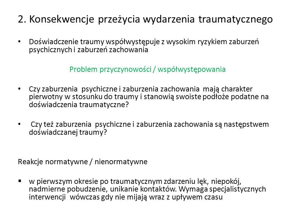 2. Konsekwencje przeżycia wydarzenia traumatycznego