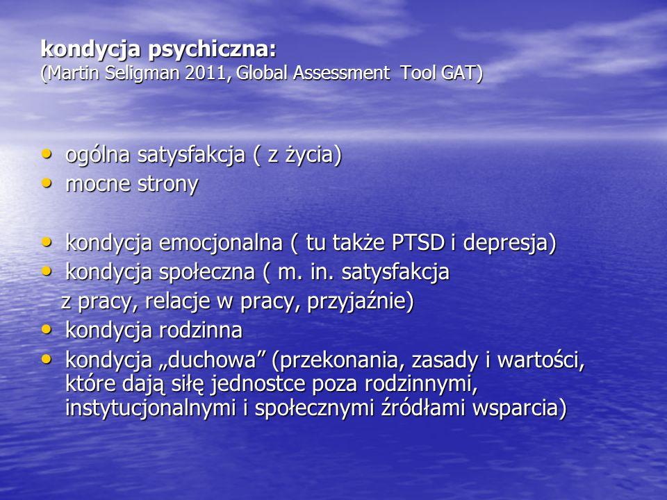 kondycja psychiczna: (Martin Seligman 2011, Global Assessment Tool GAT)
