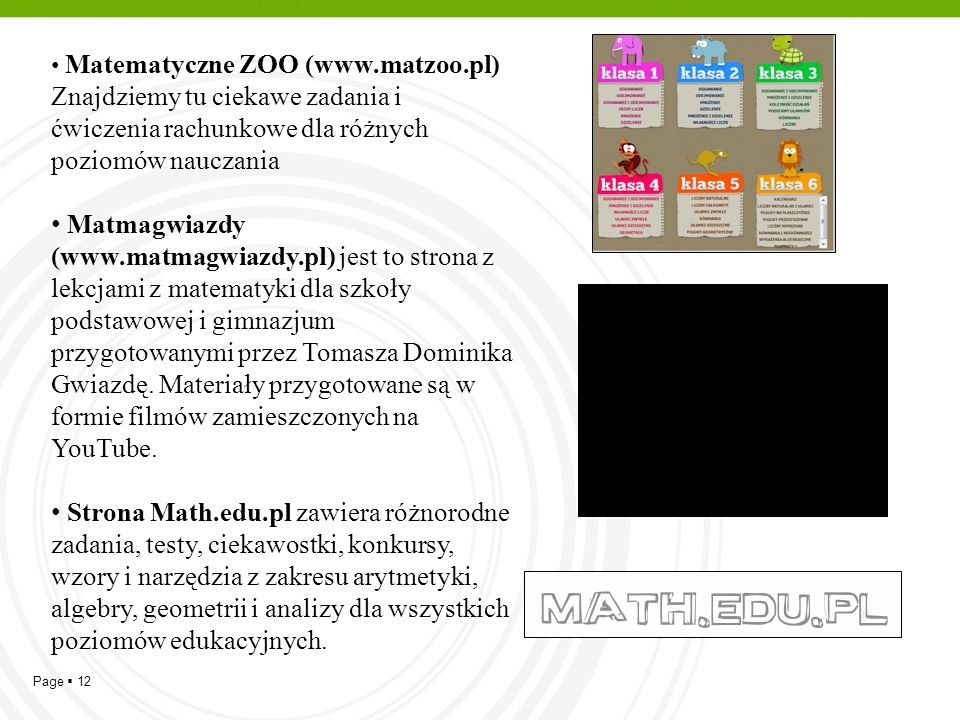 Matematyczne ZOO (www. matzoo