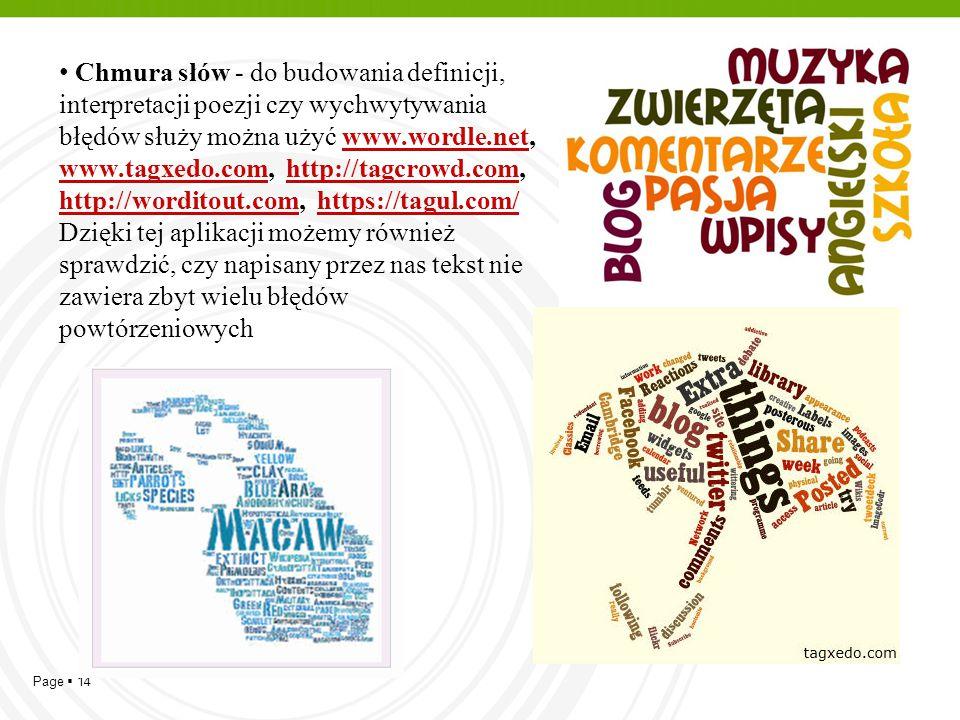 Chmura słów - do budowania definicji, interpretacji poezji czy wychwytywania błędów służy można użyć www.wordle.net, www.tagxedo.com, http://tagcrowd.com,