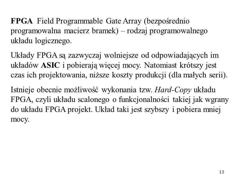 FPGA Field Programmable Gate Array (bezpośrednio programowalna macierz bramek) – rodzaj programowalnego układu logicznego.