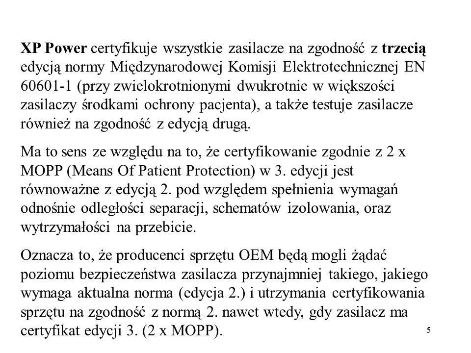 XP Power certyfikuje wszystkie zasilacze na zgodność z trzecią edycją normy Międzynarodowej Komisji Elektrotechnicznej EN 60601-1 (przy zwielokrotnionymi dwukrotnie w większości zasilaczy środkami ochrony pacjenta), a także testuje zasilacze również na zgodność z edycją drugą.