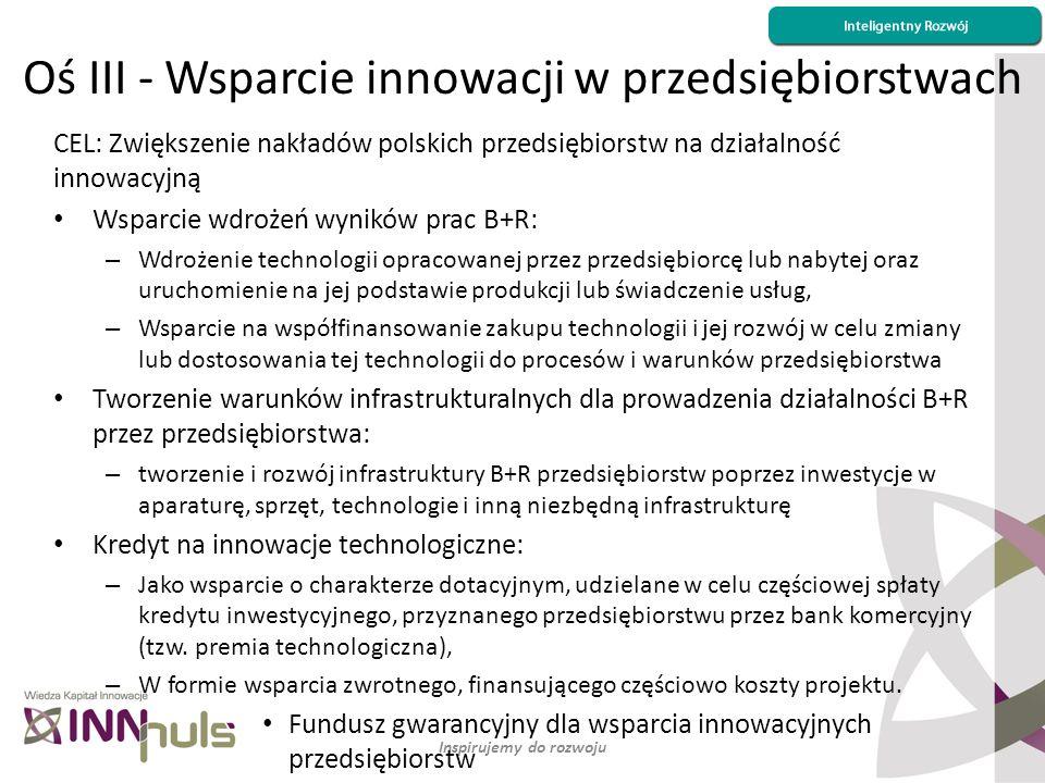 Oś III - Wsparcie innowacji w przedsiębiorstwach