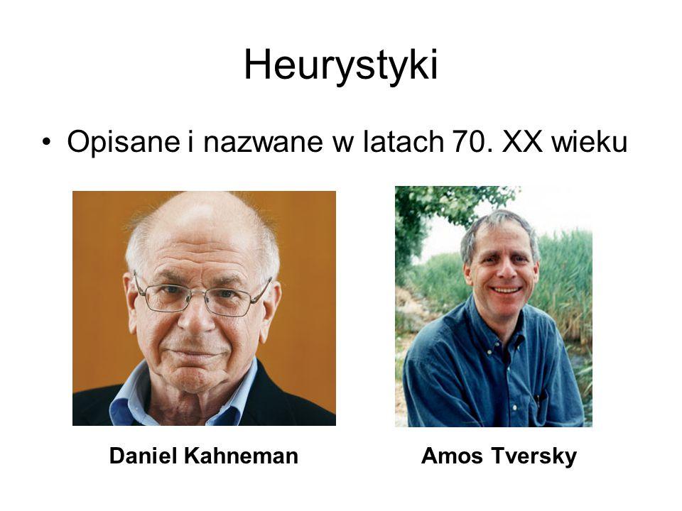Heurystyki Opisane i nazwane w latach 70. XX wieku Daniel Kahneman